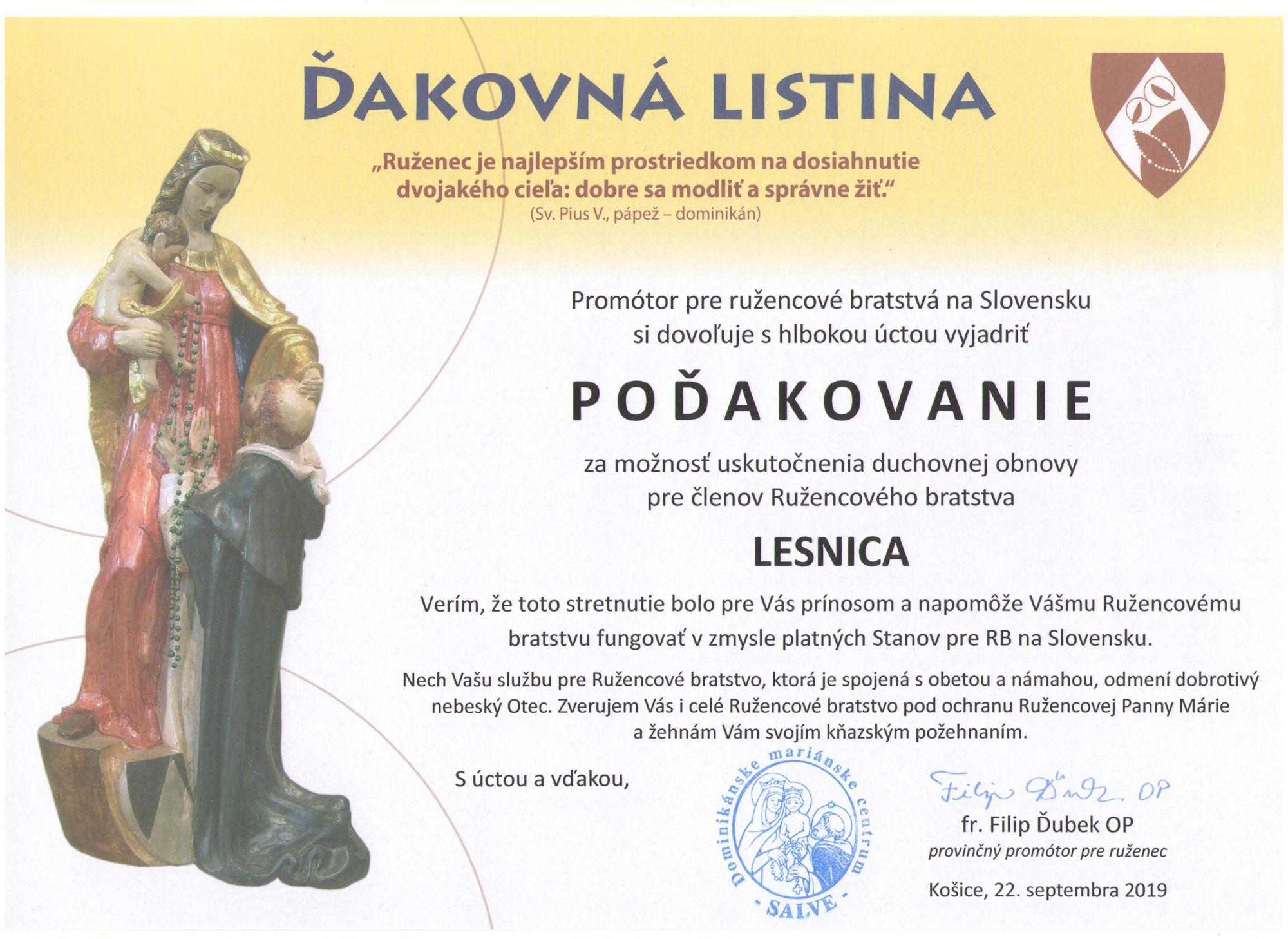 Ďakovná listina - Lesnica - menšia